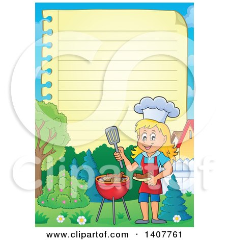 Clipart of a Ruled Paper Border of a Happy Caucasian Girl Cooking on a Bbq Grill - Royalty Free Vector Illustration by visekart