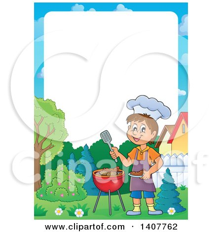 Clipart of a Border of a Happy Caucasian Boy Cooking on a Bbq Grill - Royalty Free Vector Illustration by visekart