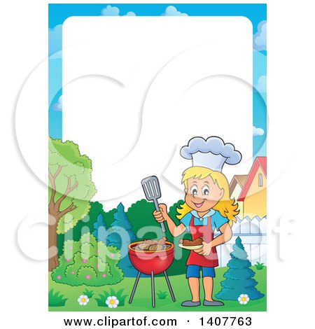 Clipart of a Border of a Happy Caucasian Girl Cooking on a Bbq Grill - Royalty Free Vector Illustration by visekart