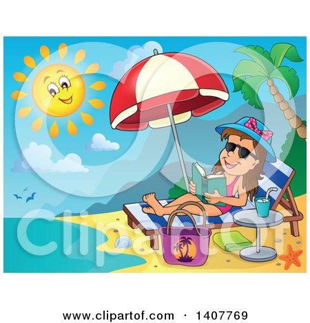 Clipart of a Relaxed Brunette Caucasian Girl Reading a Book and Sun Bathing on a Beach - Royalty Free Vector Illustration by visekart