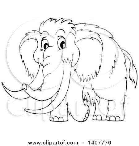 Clipart of a Black and White Lineart Happy Woolly Mammoth - Royalty Free Vector Illustration by visekart
