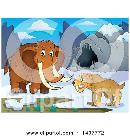 Clipart of a Saber Tooth Cat and Woolly Mammoth by a Cave - Royalty Free Vector Illustration by visekart