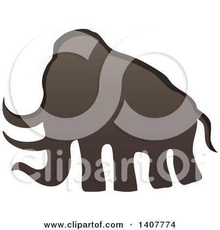 Clipart of a Prehistoric Woolly Mammoth Caveman Petroglyph - Royalty Free Vector Illustration by visekart
