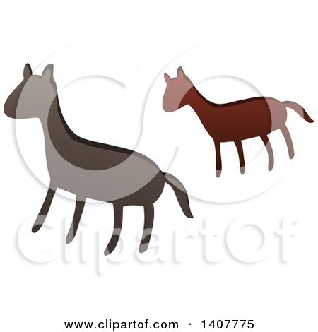 Clipart of a Prehistoric Horse Caveman Petroglyph - Royalty Free Vector Illustration by visekart