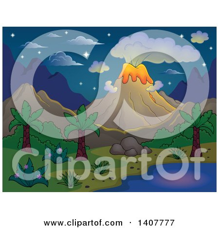 Clipart of a Prehistoric Landscape of a Volcano Erupting, and a Tropical Shore on a Starry Night - Royalty Free Vector Illustration by visekart