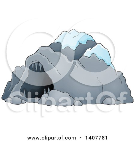 Clipart of a Cave with Snow - Royalty Free Vector Illustration by visekart
