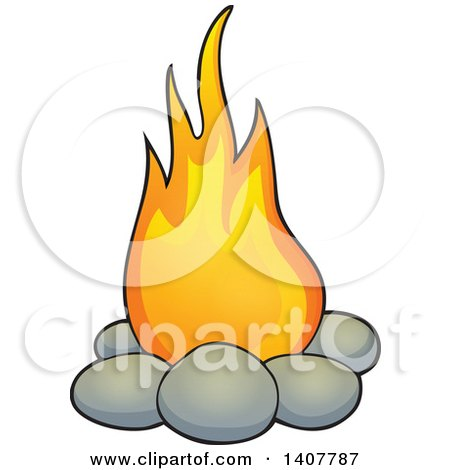 Clipart Of A Cavewoman Holding Torch