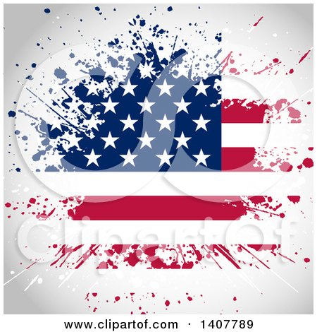 Clipart of a Background of a Grungy Splatter American Flag - Royalty Free Vector Illustration by KJ Pargeter