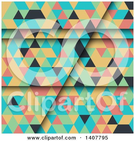 Clipart of a Colorful Geometric Backgroundo F Pyramids or Triangles - Royalty Free Vector Illustration by KJ Pargeter
