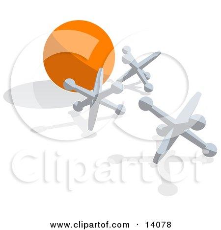 Three Silver Jacks and an Orange Ball Posters, Art Prints
