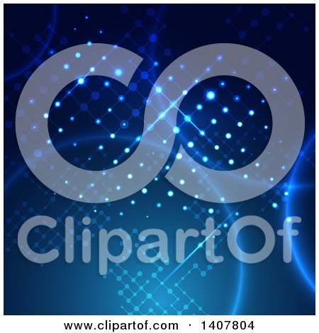 Clipart of a Blue Technology Background with a Lattice Design and Flares - Royalty Free Vector Illustration by KJ Pargeter