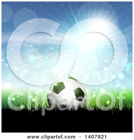 Clipart of a 3d Soccer Ball on Grass Against Blue Sky and Flares - Royalty Free Vector Illustration by KJ Pargeter