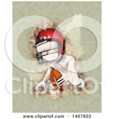 Clipart of a Watercolor White Man Ready for Football Kick off - Royalty Free Illustration by KJ Pargeter