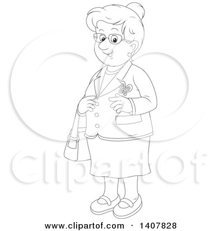 Clipart of a Cartoon Black and White Lineart Happy Senior Woman - Royalty Free Vector Illustration by Alex Bannykh