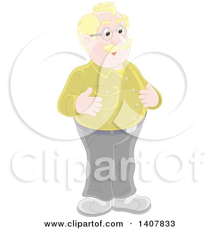 Clipart of a Cartoon Balding Blond White Man Smiling - Royalty Free Vector Illustration by Alex Bannykh