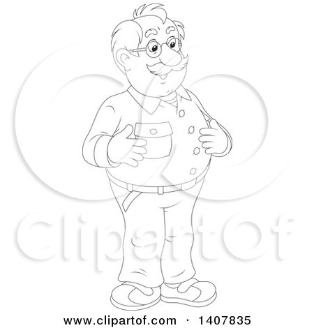 Clipart of a Cartoon Black and White Lineart Balding Man Smiling - Royalty Free Vector Illustration by Alex Bannykh