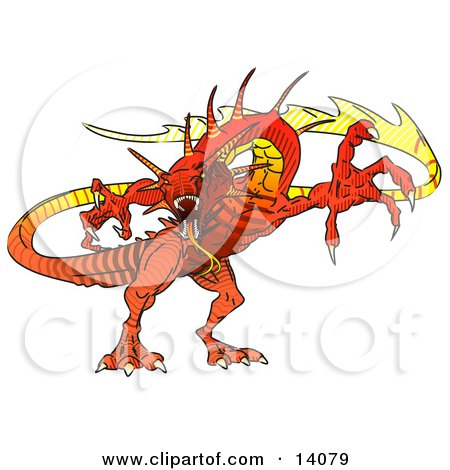 Red Dragon Defending Clipart Illustration