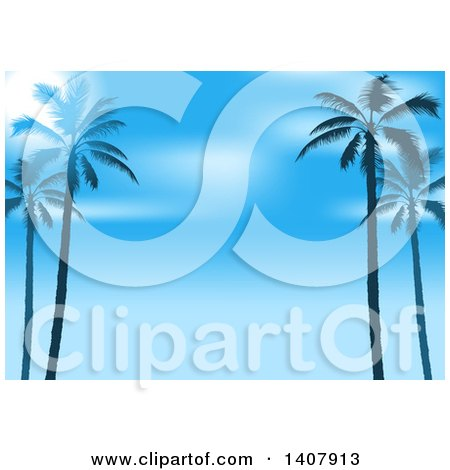 Clipart of a Background of Silhouetted Palm Trees and Blue Sky - Royalty Free Vector Illustration by dero