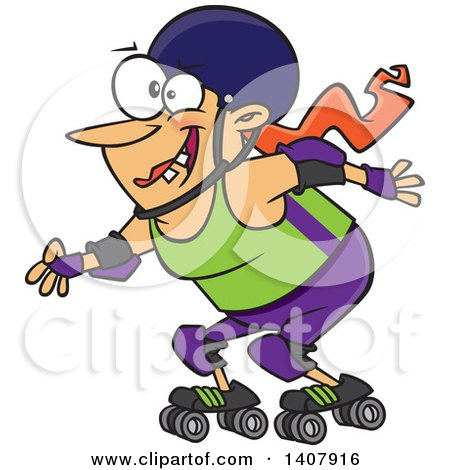 Clipart Of A Cartoon Roller Derby Caucasian Woman Skating Royalty Free Vector Illustration