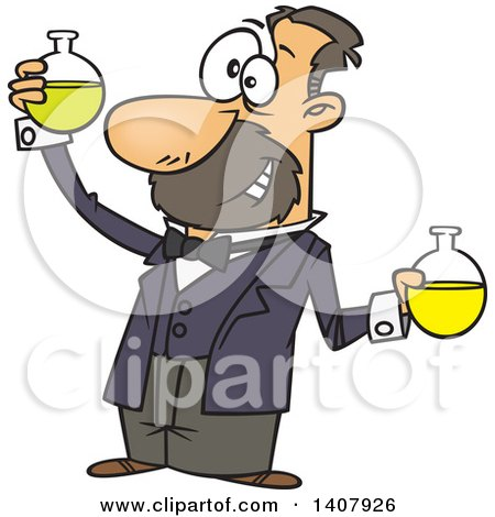 Clipart of a Cartoon White Man, Louis Pasteur, Conducting a Chemistry Experiment - Royalty Free Vector Illustration by toonaday