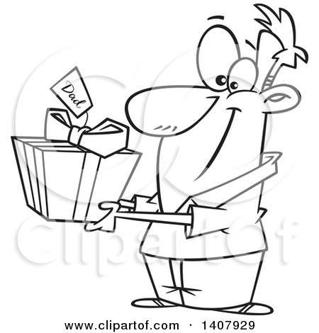 Clipart of a Cartoon Black and White Lineart Man Holding out a Gift for His Dad - Royalty Free Vector Illustration by toonaday