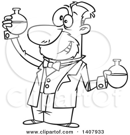 Clipart of a Cartoon Black and White Lineart Man, Louis Pasteur, Conducting a Chemistry Experiment - Royalty Free Vector Illustration by toonaday