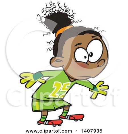 Clipart Of A Cartoon African Girl Soccer Goal Keeper Royalty Free Vector Illustration