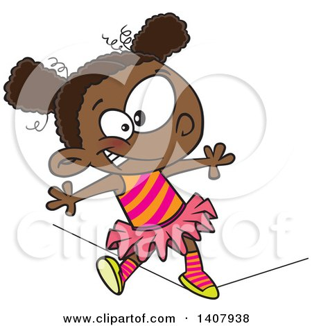 Clipart of a Cartoon African Girl Walking a Circus Tight Rope - Royalty Free Vector Illustration by toonaday