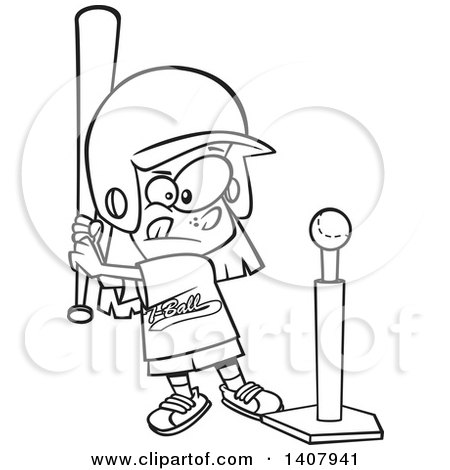 Cartoon Black and White Lineart Little Girl Playing T Ball