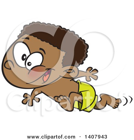 Clipart Of A Cartoon Black Boy Running On A Beach Royalty Free Vector Illustration