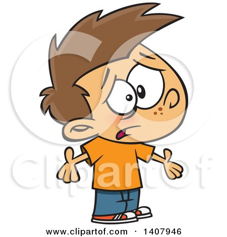 Clipart of a Cartoon Whining Caucasian Boy Shrugging and ...