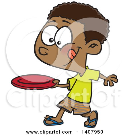 Clipart of a Cartoon African Boy Throwing a Frisbee - Royalty Free Vector Illustration by toonaday