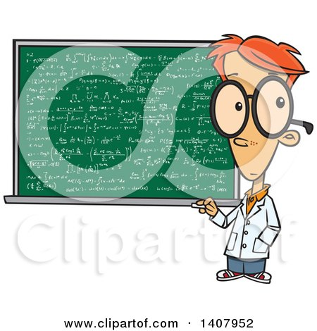 Clipart of a Cartoon Red Haired Caucasian Genius Boy by a Chalkboard - Royalty Free Vector Illustration by toonaday