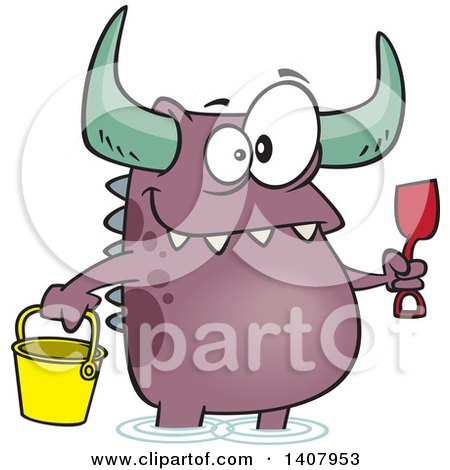 Clipart Of A Cartoon Happy Monster With A Bucket And Shovel Wading On A Beach Royalty Free Vector Illustration