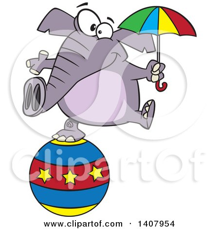 Clipart of a Cartoon Circus Elephant Holding an Umbrella and Balancing on a Ball - Royalty Free Vector Illustration by toonaday