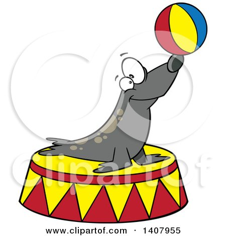 Clipart of a Cartoon Circus Seal Balancing a Ball on His Nose - Royalty Free Vector Illustration by toonaday