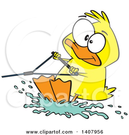 Clipart of a Cartoon Duck Water Skiing - Royalty Free Vector Illustration by toonaday