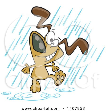 Clipart of a Cartoon Happy Dog Dancing in the Rain - Royalty Free Vector Illustration by toonaday
