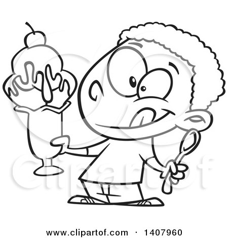 Clipart of a Cartoon Black and White Lineart African Boy Holding a Big Ice Cream Sundae - Royalty Free Vector Illustration by toonaday