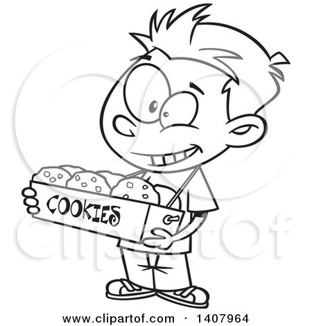 Clipart of a Cartoon Black and White Lineart Boy Selling Cookies - Royalty Free Vector Illustration by toonaday