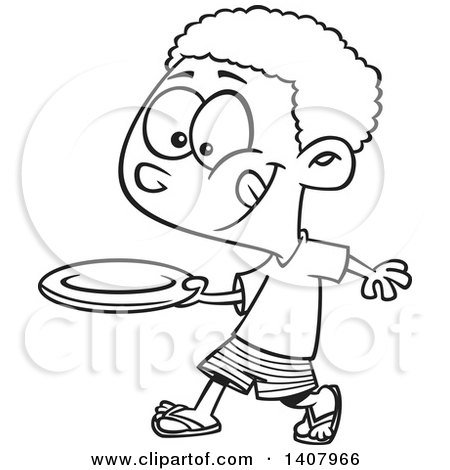 Clipart of a Cartoon Black and White Lineart African Boy Throwing a Frisbee - Royalty Free Vector Illustration by toonaday