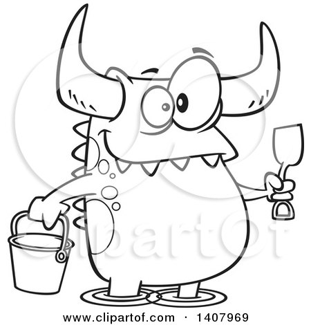 Clipart of a Cartoon Black and White Lineart Happy Monster with a Bucket and Shovel, Wading on a Beach - Royalty Free Vector Illustration by toonaday