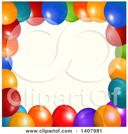 Clipart of a Background of 3d Colorful Party Balloons over Tan - Royalty Free Vector Illustration by elaineitalia