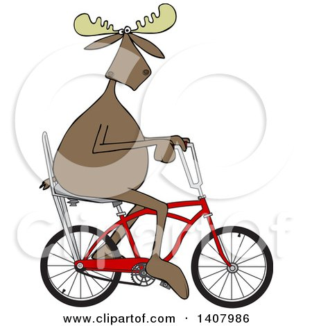 Clipart of a Cartoon Moose Riding a Red Stingray Bicycle - Royalty Free Vector Illustration by djart