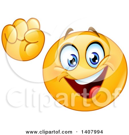Clipart of a Yellow Smiley Face Emoji Emoticon Cheering, Power to the People - Royalty Free Vector Illustration by yayayoyo