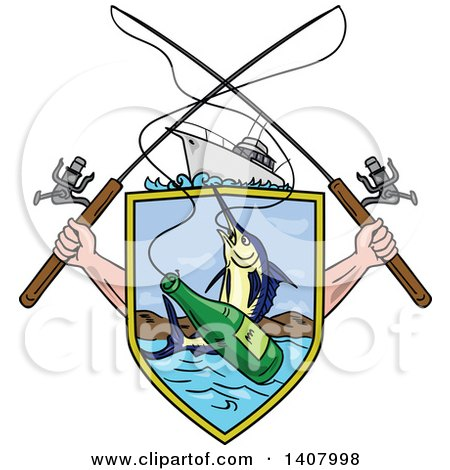 Clipart of a Sketched Crossed Arms Holding Fishing Rods over a Shield with a Marlin Fish and Beer Bottle over Water - Royalty Free Vector Illustration by patrimonio