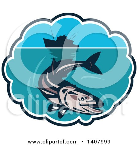 Clipart of a Retro Cobia Fish Swimming Below a Silhouetted Fishing Boat in a Bubble Frame - Royalty Free Vector Illustration by patrimonio