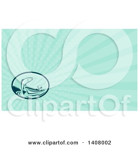 Clipart of a Retro Fly Fisherman Reeling in a Trout or Salmon Fish from a Boat and Turquoise Rays Background or Business Card Design - Royalty Free Illustration by patrimonio