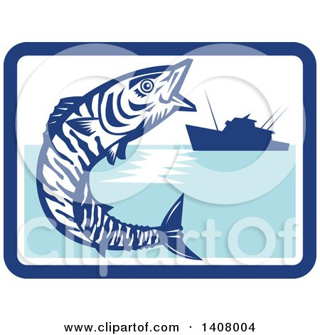 Clipart of a Retro Wahoo Scombrid Fish Jumping near a Silhouetted Fishing Boat in a Blue and White Rectangle - Royalty Free Vector Illustration by patrimonio