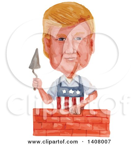 Clipart of a Watercolor Caricature of Donald Trump Wearing an American Apron and Laying a Brick Wall - Royalty Free Vector Illustration by patrimonio